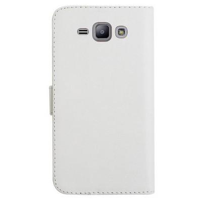 Microsonic Samsung Galaxy J1 Kılıf Cüzdanlı Deri Beyaz Cep Telefonu Kılıfı