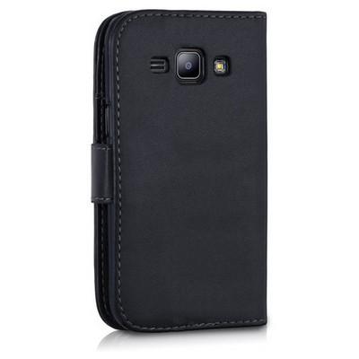 Microsonic Samsung Galaxy J1 Kılıf Cüzdanlı Deri Siyah Cep Telefonu Kılıfı