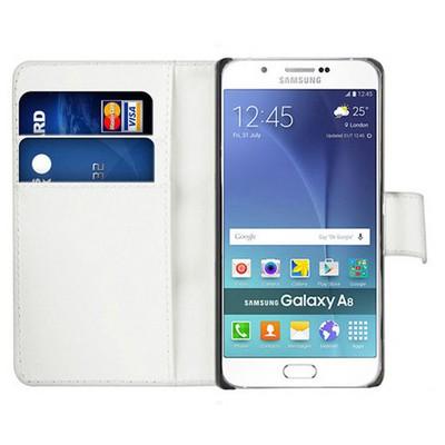 Microsonic Samsung Galaxy A8 Kılıf Cüzdanlı Deri Beyaz Cep Telefonu Kılıfı