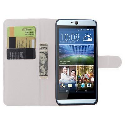 Microsonic Htc Desire 826 Kılıf Cüzdanlı Deri Beyaz Cep Telefonu Kılıfı