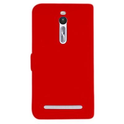 Microsonic Asus Zenfone 2 (5.5'') Kılıf Cüzdanlı Deri Kırmızı Cep Telefonu Kılıfı