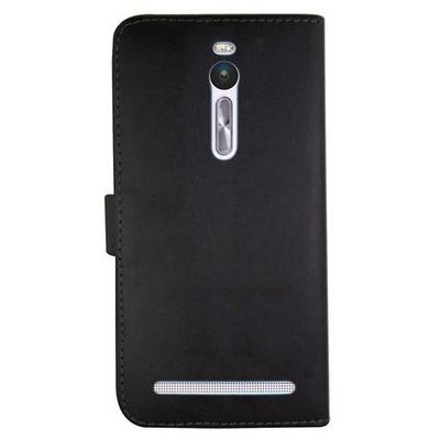 Microsonic Asus Zenfone 2 (5.5'') Kılıf Cüzdanlı Deri Siyah Cep Telefonu Kılıfı