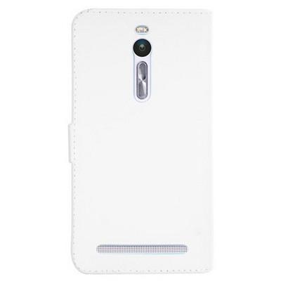 Microsonic Asus Zenfone 2 (5.5'') Kılıf Cüzdanlı Deri Beyaz Cep Telefonu Kılıfı