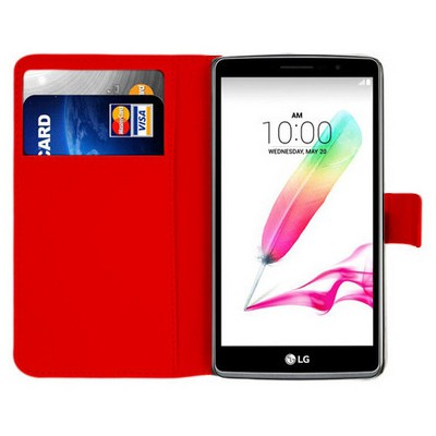 Microsonic Lg G4 Stylus Kılıf Cüzdanlı Deri Kırmızı Cep Telefonu Kılıfı