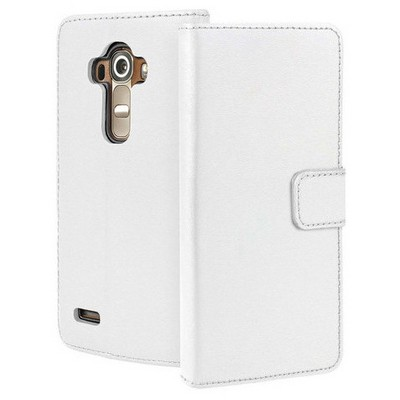 Microsonic Lg G4 Stylus Kılıf Cüzdanlı Deri Beyaz Cep Telefonu Kılıfı