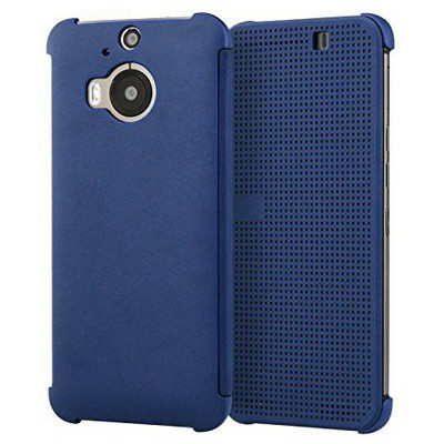 Microsonic Htc One M9+ Plus View Cover Dot Kapaklı Akıllı Modlu Mavi Cep Telefonu Kılıfı