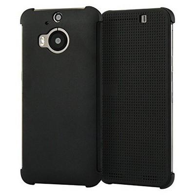 Microsonic Htc One M9+ Plus View Cover Dot Kapaklı Akıllı Modlu Siyah Cep Telefonu Kılıfı