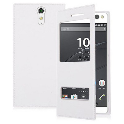 Microsonic Sony Xperia C5 Ultra Kılıf Dual View Delux Kapaklı Beyaz Cep Telefonu Kılıfı