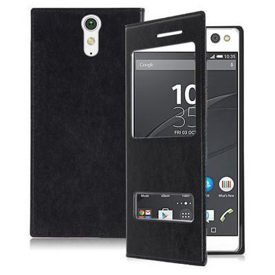 Microsonic Sony Xperia C5 Ultra Kılıf Dual View Delux Kapaklı Siyah Cep Telefonu Kılıfı