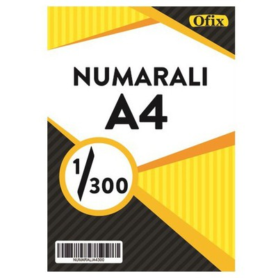 Ofix Numaralı A4 Kağıt 80 Gr Dikey 1-300 Sayfa Sürekli Form