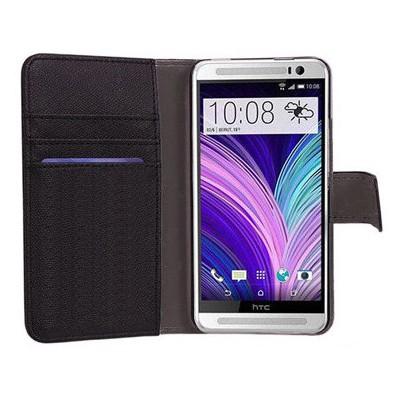 Microsonic Cüzdanlı Deri Kılıf - Htc One M8s Siyah Cep Telefonu Kılıfı