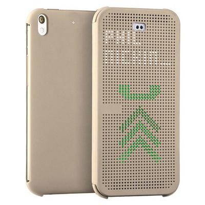 Microsonic View Cover Dot Delux Kapaklı Htc Desire 626 Kılıf Akıllı Modlu Gold Cep Telefonu Kılıfı
