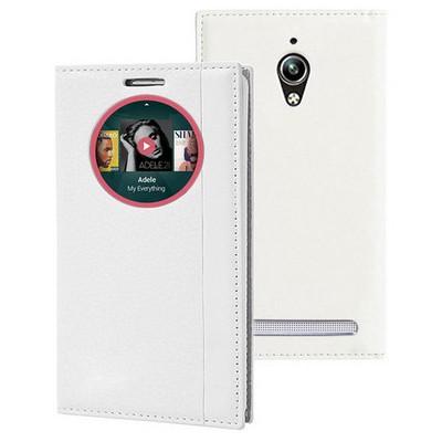 Microsonic Asus Zenfone Go Kılıf Gizli Mıknatıslı View Delux Akıllı Beyaz Cep Telefonu Kılıfı
