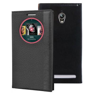 Microsonic Asus Zenfone Go Kılıf Gizli Mıknatıslı View Delux Akıllı Siyah Cep Telefonu Kılıfı