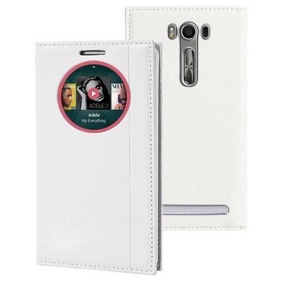 Microsonic Asus Zenfone Selfie Kılıf Gizli Mıknatıslı View Delux Akıllı Beyaz Cep Telefonu Kılıfı