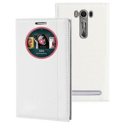 Microsonic Asus Zenfone 2 Laser 5.0'' Kılıf Gizli Mıknatıslı View Delux Akıllı Beyaz Cep Telefonu Kılıfı