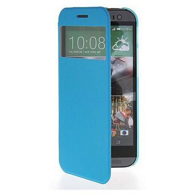 Microsonic View Cover Delux Kapaklı Htc One M8s Kılıf Mavi Cep Telefonu Kılıfı