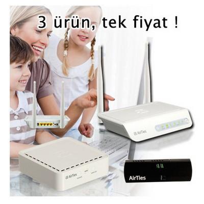 Airties Air 5442 + Air-4400 + Air-2411bundle, 300 Mbps 4 Portlu Kablosuz Adsl2+ Modem
