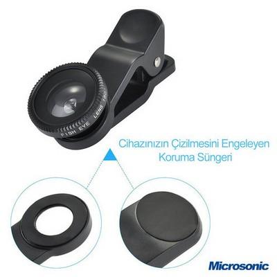 Microsonic Balık Gözü Cep Telefonu Kamera Lensi Selfie Lens Cep Telefonu Aksesuarı