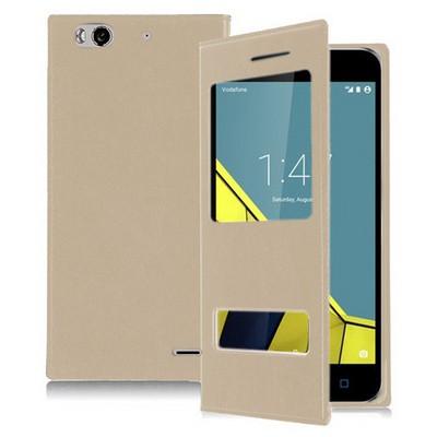 Microsonic Vodafone Smart 6 Kılıf Dual View Delux Kapaklı Gold Cep Telefonu Kılıfı