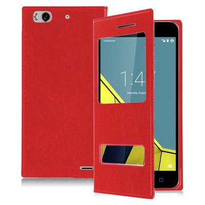 Microsonic Vodafone Smart 6 Kılıf Dual View Delux Kapaklı Kırmızı Cep Telefonu Kılıfı