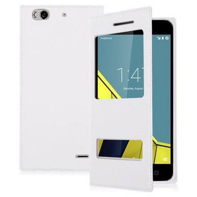 Microsonic Vodafone Smart 6 Kılıf Dual View Delux Kapaklı Beyaz Cep Telefonu Kılıfı