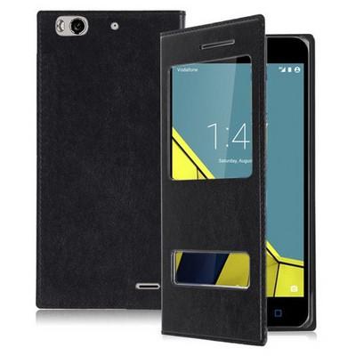 Microsonic Vodafone Smart 6 Kılıf Dual View Delux Kapaklı Siyah Cep Telefonu Kılıfı
