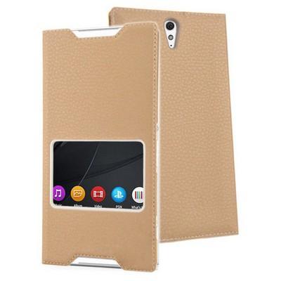 Microsonic Sony Xperia C5 Ultra Kılıf View Slim Kapaklı Deri Gold Cep Telefonu Kılıfı