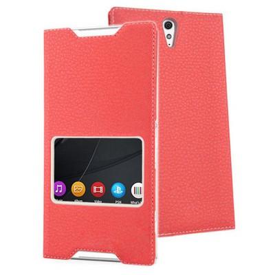 Microsonic Sony Xperia C5 Ultra Kılıf View Slim Kapaklı Deri Kırmızı Cep Telefonu Kılıfı