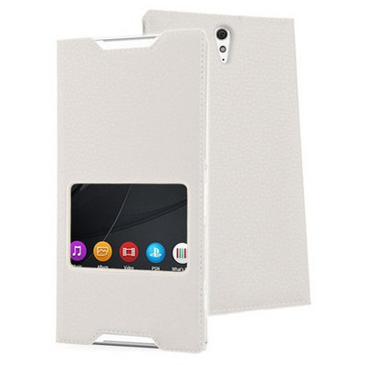 Microsonic Sony Xperia C5 Ultra Kılıf View Slim Kapaklı Deri Beyaz Cep Telefonu Kılıfı