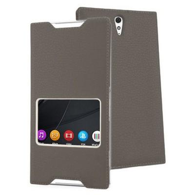 Microsonic Sony Xperia C5 Ultra Kılıf View Slim Kapaklı Deri Siyah Cep Telefonu Kılıfı