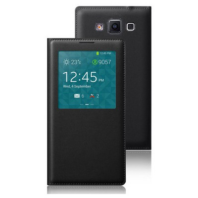 Microsonic Samsung Galaxy Grand Max Kılıf View Slim Kapaklı Deri Siyah Cep Telefonu Kılıfı
