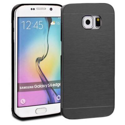 Microsonic Samsung Galaxy S6 Edge+ Plus Kılıf Hybrid Metal Siyah Cep Telefonu Kılıfı