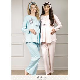 Haluk Baha Lohusa 2'li Pijama Takım Turkuaz L Gecelik & Pijama