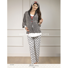Haluk Baha Lohusa 3'lü Pijama Takım Siyah L Gecelik & Pijama