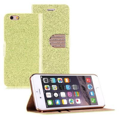 Microsonic Pearl Simli Taşlı Deri Iphone 6s Plus Kılıf Sarı Cep Telefonu Kılıfı