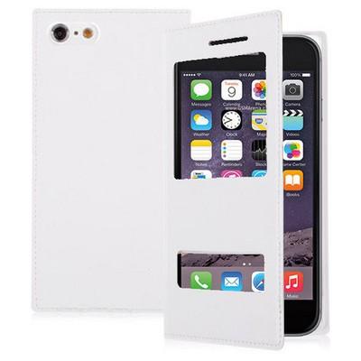 Microsonic Dual View Delux Kapaklı Iphone 6s Plus Kılıf Beyaz Cep Telefonu Kılıfı