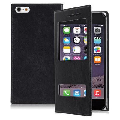 Microsonic Dual View Delux Kapaklı Iphone 6s Plus Kılıf Siyah Cep Telefonu Kılıfı