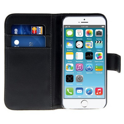 Microsonic Cüzdanlı Deri Iphone 6s Plus Kılıf Siyah Cep Telefonu Kılıfı