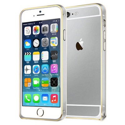 Microsonic Iphone 6s Plus Ultra Thin Metal Bumper Kılıf Silver & Gold Cep Telefonu Kılıfı