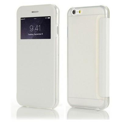 Microsonic View Cover Delux Kapaklı Iphone 6s Plus Kılıf Beyaz Cep Telefonu Kılıfı