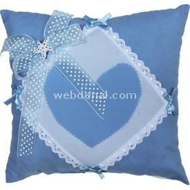 Handan Küçük Altın Takı Yastığı Mavi-kalpli Süs & Takı Yastığı