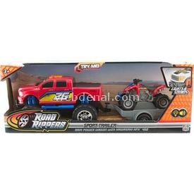 Road Rippers R.r.sesli Ve Işıklı Dodge Ram Ve Kawasaki Motosiklet Araç Seti Arabalar