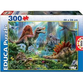 Educa Çocuk  Karton 300 Dinosours Puzzle