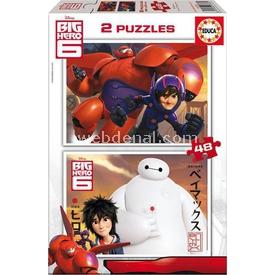 Educa Çocuk Puzzle Karton 2 X 48 Big Hero 6 Figür Oyuncaklar
