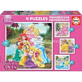 Educa Çocuk  Karton 12+16+20+25 Palace Pets Puzzle