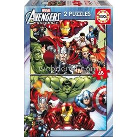 Educa Çocuk  Karton 2x48 Avengers Puzzle
