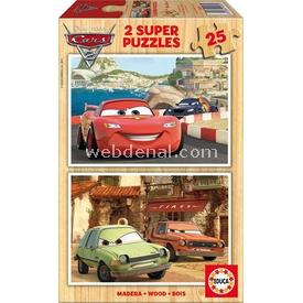 Educa Çocuk  Ahşap 2 X 25 Arabalar 2 Puzzle