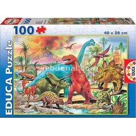 Educa Çocuk  Karton 100 Dinozorlar Puzzle