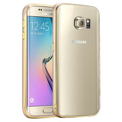 Microsonic Samsung Galaxy S6 Edge+ Plus Kılıf Ultra Thin Metal Bumper Gold Cep Telefonu Kılıfı